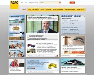Homepage vom ADAC