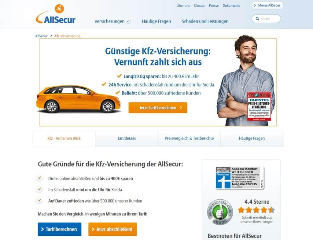 Webseite der AllSecur
