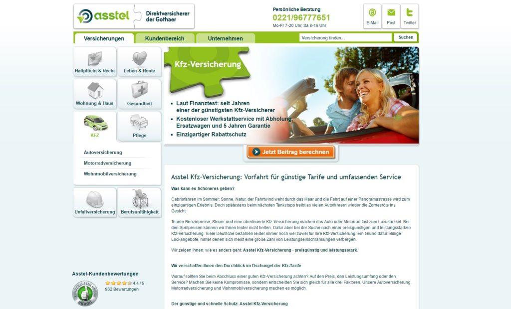 Die Webseite der Asstel
