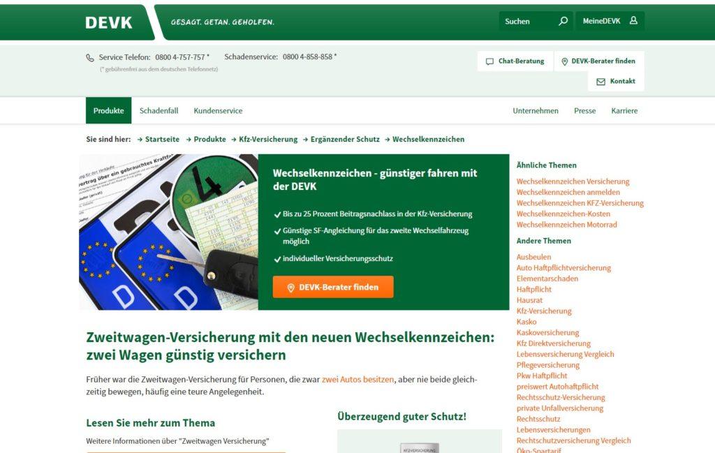 Die Webseite der DEVK