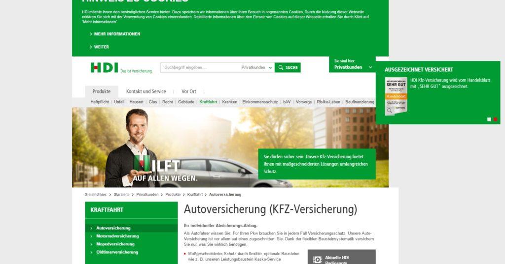 Die Webseite von HDI