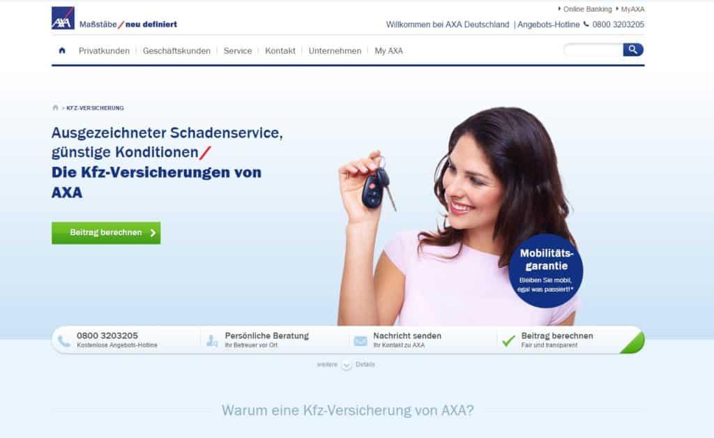 Webseite von AXA