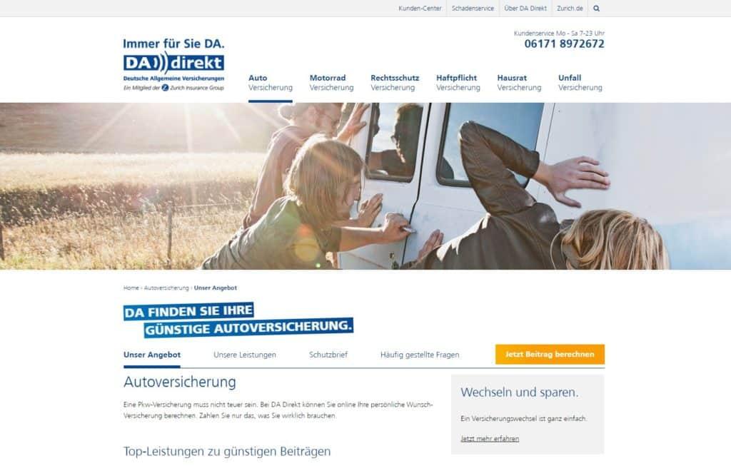 Webseite der DA Direkt