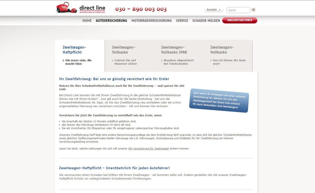 Die Webseite der Direct Line