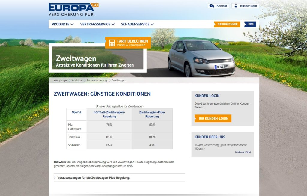 Europa Go Zweitwagenversicherung Test Tarife 2019